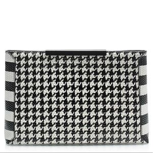 J. Crew Textured Leather Houndstooth Clutch
